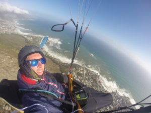 Having fun paragliding cape town